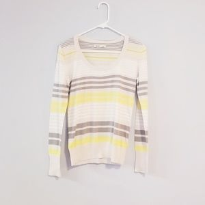 Grey white and yellow striped sweater